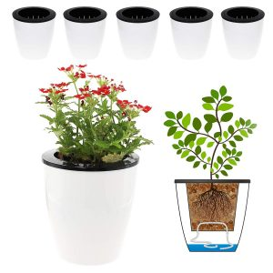 DElf 6 Pack 4.7 Inches Self Watering Planter Wicking Pots for Indoor Golden Devil's Ivy, African Violet, Ocean Spider Plant, Orchid, White Color
