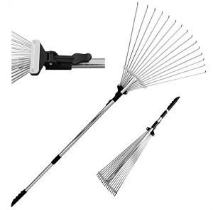 TABOR TOOLS Telescopic Metal Rake for Dead Grass