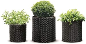 Keter Resin Wicker Cylinder Flower Pot