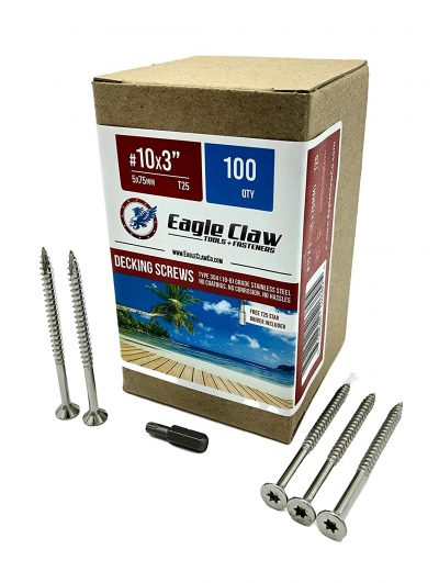 Eagle Claw Tools and Fasteners 10 x 3 Inch Stainless Steel Deck Screws